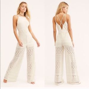 Free People NEW! Moon Bay Ivory Crochet Jumpsuit